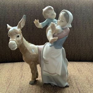 Lladro #4843 Donkey Ride Mother and Child